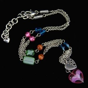 Brighton Multicolored Double Heart Necklace